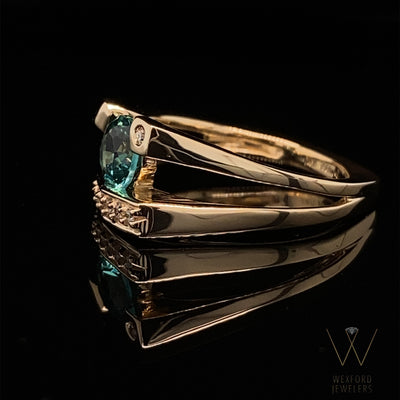 asymmetrical-diamond-teal-ring-wexford-jewelers