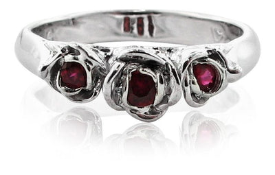 Burmese Ruby White Gold Ring, Trieste Roses II