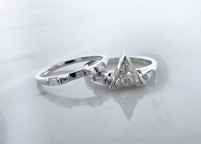 triangle-cut-diamond-wedding-ring-set-14K-white-gold-wexford-jewelers