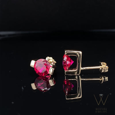 lab-ruby-14K-yellow-gold-earring-studs-wexford-jewelers