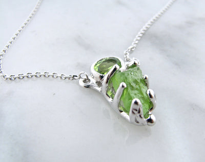 Raw and Faceted Peridot Necklace, Limelight