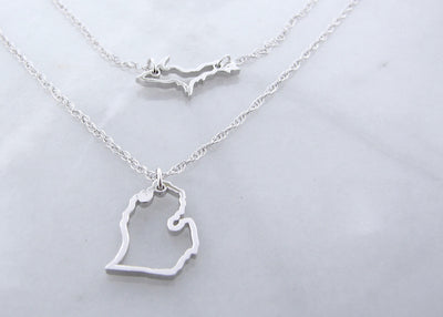 Michigan Silver Layered Necklace