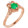 Emerald Rose Gold Claddagh Ring