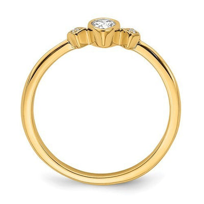 Yellow gold promise ring with Pear shape diamond