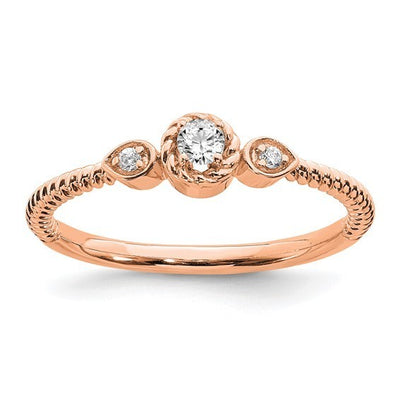 Rope style rose gold diamond promise ring