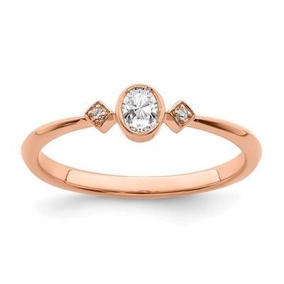 Dainty lil thang promise ring rose gold diamond bezel oval