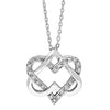 .08CT Sterling Silver Double Heart Necklace