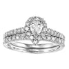 1.00CT TDW 14K WG Pear Halo Engagement Ring With Matching Wedding Band
