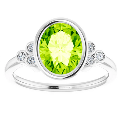 Oval Peridot Diamond Accent Ring