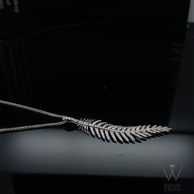 .41CT Magnificent Flex Feather Pendant 18K White Gold and Chain