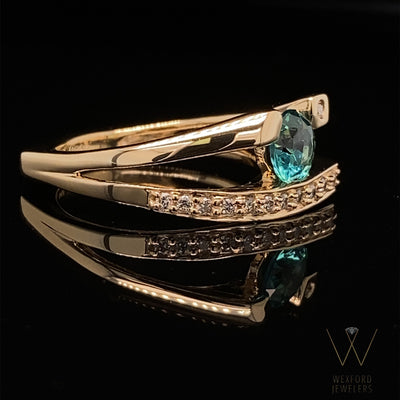 yellow-gold-diamond-teal-topaz-ring-wexford-jewelers