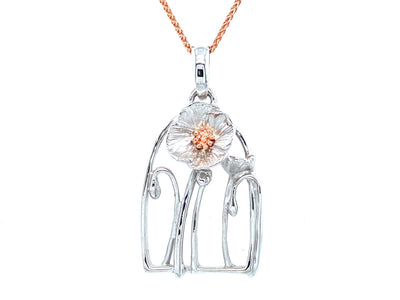 silver-rose-gold-poppy-necklace-wexford-jewelers