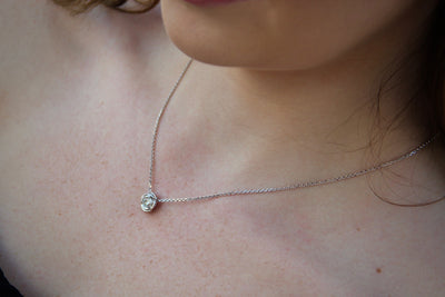 Silver Peridot August Birthstone Necklace, Rose Slider