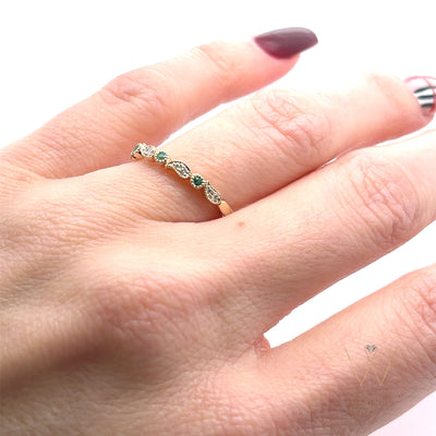 emerald-diamond-leaf-stacking-ring-yellow-gold-wexford-jewelers