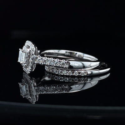 Double Halo Emerald Cut Diamond White Gold Wedding Set