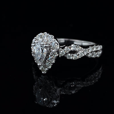 Halo Pear Diamond White Gold Twist Wedding Ring Set