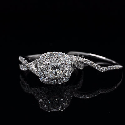 Double Cushion Halo Princess Cut Diamond White Gold Wedding Set