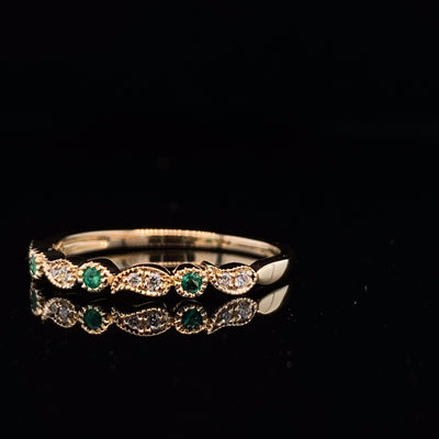 Leaf-diamond-yellow-gold-stacking-ring-wexford-jewelers