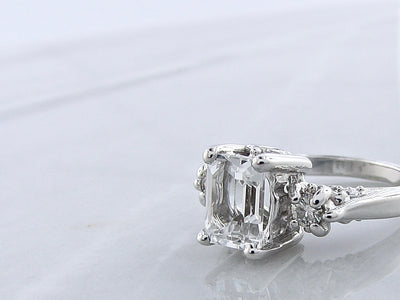 emerald-cut-diamond-alternative-silver-vintage-ring-wexford-jewelers