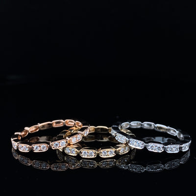 Diamond Yellow Gold Gondola Stacking Band