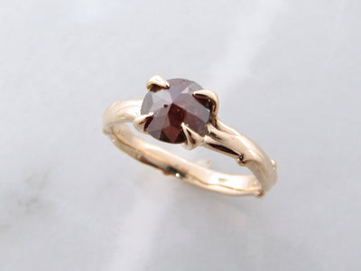 rough-rose-cut-brown-diamond-yellow-gold-ring-wexford-jewelers