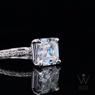 2ct Asscher Cut Moissanite and Diamond French-Set Engagement Ring