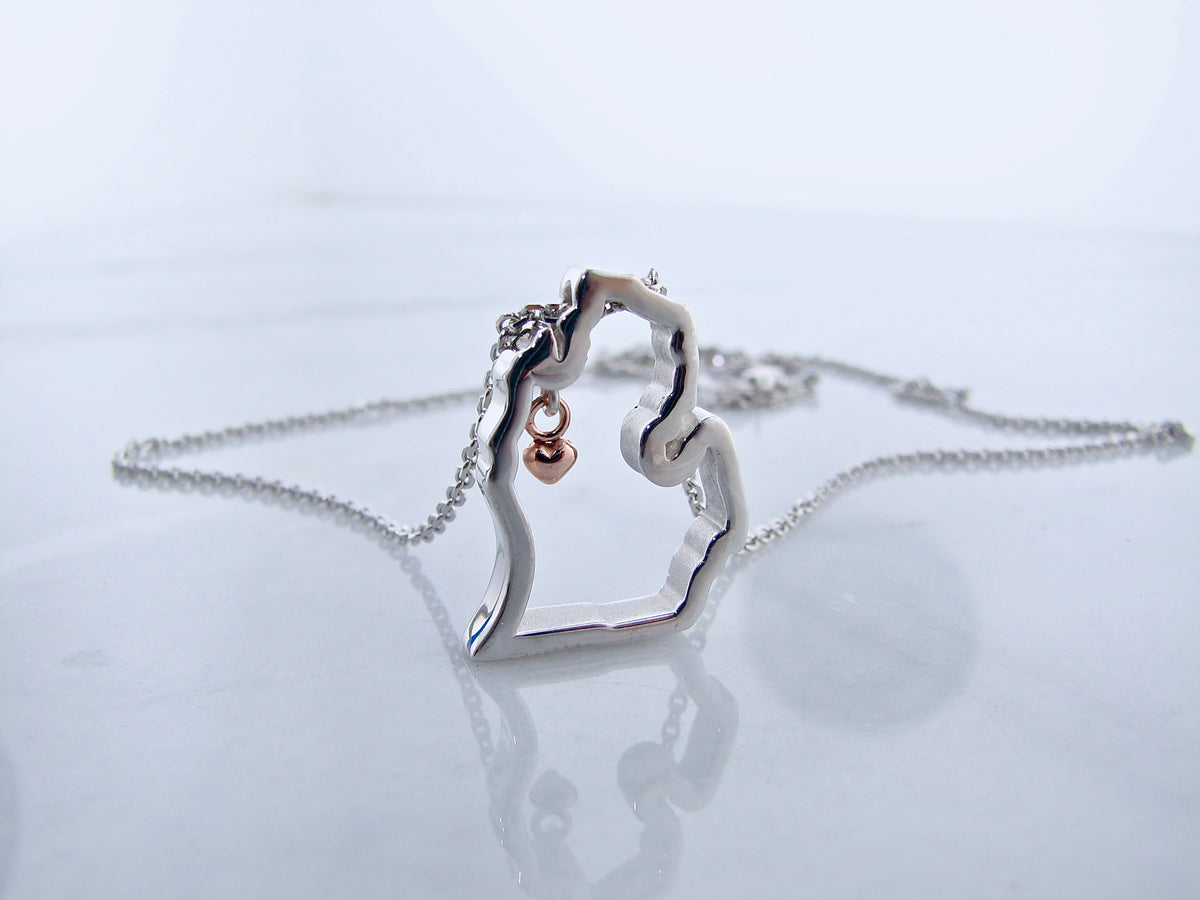 silver-rose-gold-michigan-mitten-pendant-necklace-wexford-jewelers