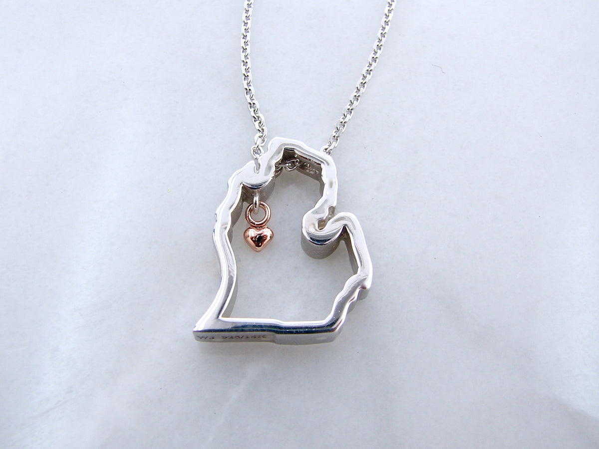silver-rose-gold-necklace-mitten-love-michigan-wexford-jewelers