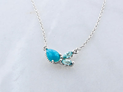 scattered-turquoise-blue-zircon-silver-necklace-wexford-jewelers