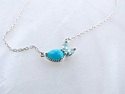 turquoise-blue-zircon-silver-split-chain-necklace-wexford-jewelers