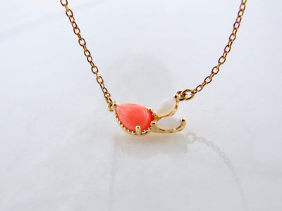 yellow-gold-pink-coral-opal-split-chain-necklace-wexford-jewelers