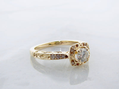 french-scroll-wrok-yellow-gold-halo-diamond-ring-wexford-jewelers