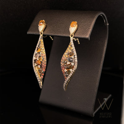 Multi Gemstone and Diamond Drops of Autumn Earrings