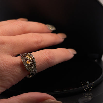Multi Gemstone and Diamond Drops of Autumn Ring