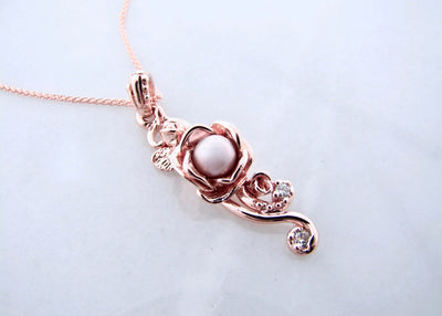 Pink Pearl Diamond Rose Gold Rose Necklace, Rose Cascade