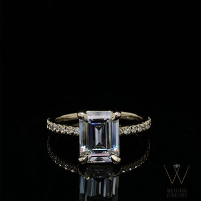 Emerald Cut Moissanite an Diamond French-Set Engagement Ring