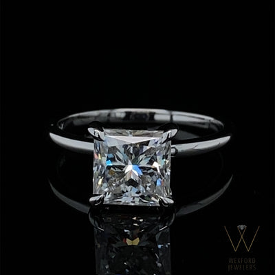 2CT Princess Cut Moissanite White Gold Engagement Ring
