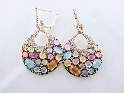 multi-colored-gemstone-yellow-gold-diamond-earrings