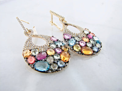 orange-lavender-blue-pink-gemstone-yellow-gold-diamond-earrings