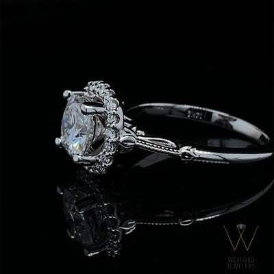 2CT Cushion Cut Moissanite White Gold Halo Engagement Ring