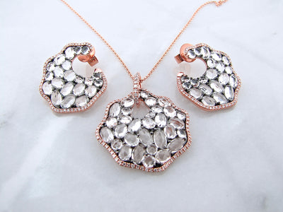 rose-cut-topaz-diamond-rose-gold-necklace-earrings-wexford-jewelers