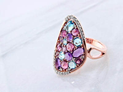 purple-blue-rose-gold-gemstone-ring-diamond-accent-wexford-jewelers