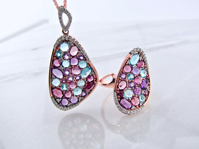 rose-gold-rose-cut-colored-gemstone-ring-pendant-wexford-jewelers