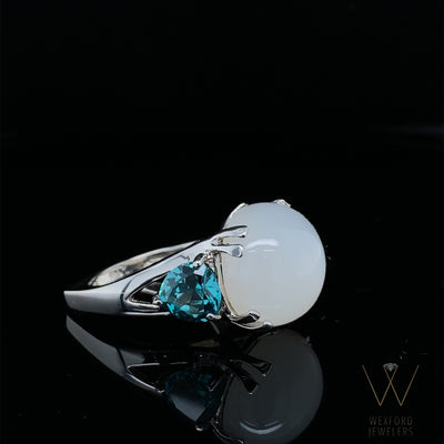 Moonstone Magic Ocean Blue Quartz Silver Ring