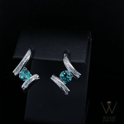 Caribbean Blue Quartz Silver Earrings