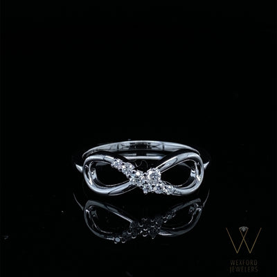 Diamond Sprinkled Infinity Promise Silver Ring