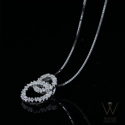 Diamond Double Circle White Gold Necklace