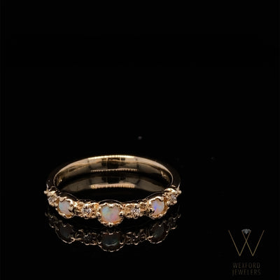 Opal and Diamond 14k Yellow Gold Milgrain Stacking Treasure Band