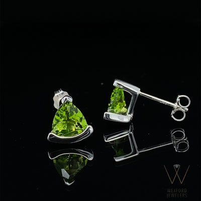 PERIDOT Trillion Silver Earrings