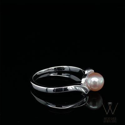 Pink Pearl Ring Silver Bypass